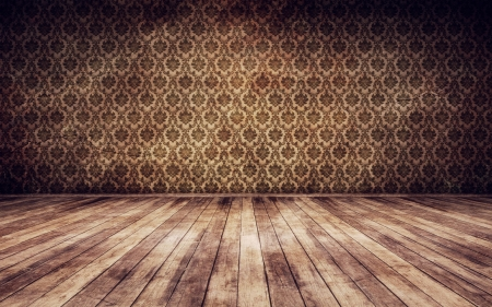room wallpaper: Grunge vintage interior background 3d render Stock Photo