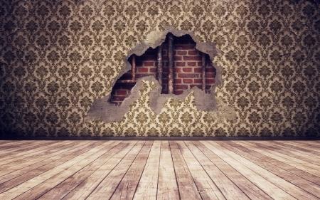 muro rotto: Grunge vintage rotto parete di fondo interna