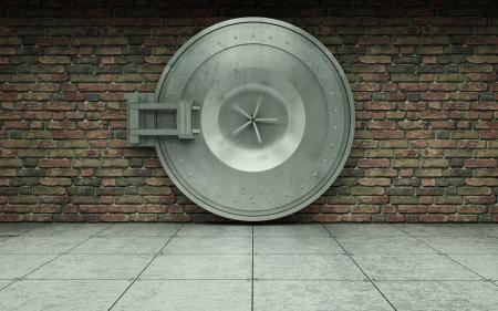 銀行の金庫室の扉を持つ古いれんが造りの壁