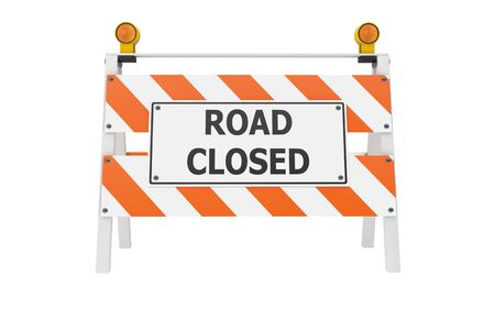 road closed: Road Closed Barricade isolated with clipping path Stock Photo