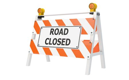 building activity: Road Closed Barricade isolated with clipping path Stock Photo