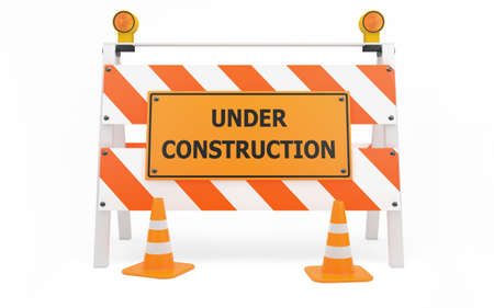 traffic barricade: Under Construction traffic barricade isolated with clipping path