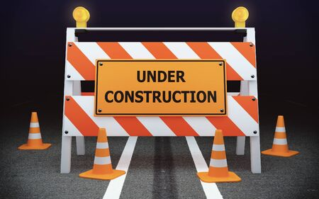 traffic barricade: Under Construction traffic barricade on the road Stock Photo