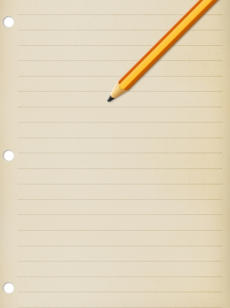 writing lines: old notepad page with pencil