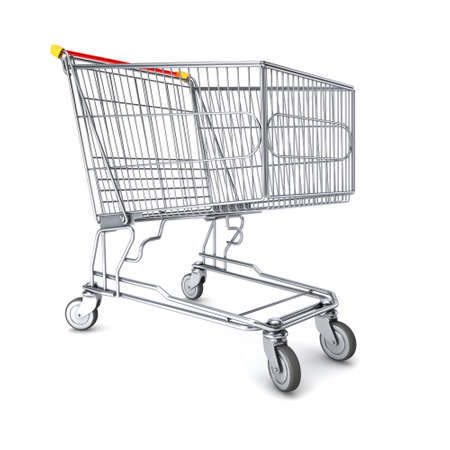 trolly: Empty shopping cart 3d render on white Stock Photo
