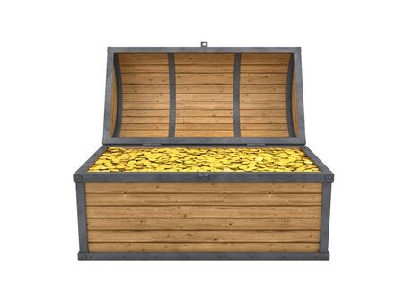 chest full of gold isolated with clipping path photo