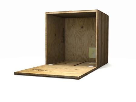 白で隔離される空の木製出荷箱 写真素材