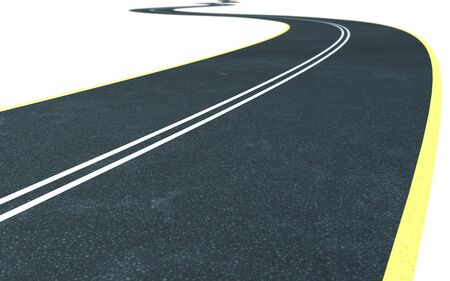 curved asphalt road isolated on white  photo