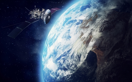 orbit: satelite floating around earth background Stock Photo