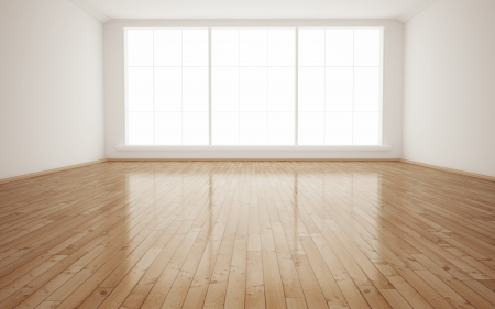 wood floor: Bright Interior Empty Room 3D render