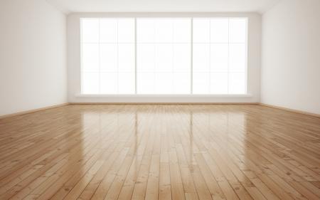 madeira de lei: Interior brilhante quarto vazio 3D render