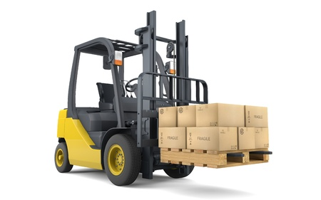 work load: Forklift moving boxes isolated on white Stock Photo