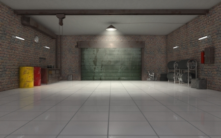 car in garage: Auto Repair garage interior 3d render