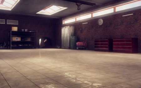 Mechanic s garage perspective 3d render