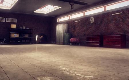 garages: Mechanic s garage perspective 3d render