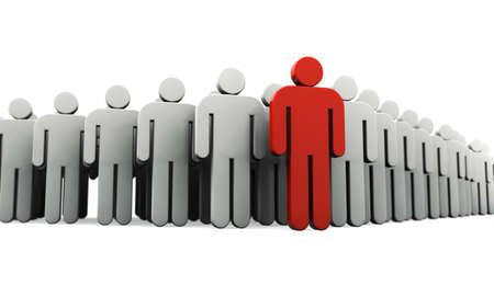 Human silhouette leading group of people Фото со стока