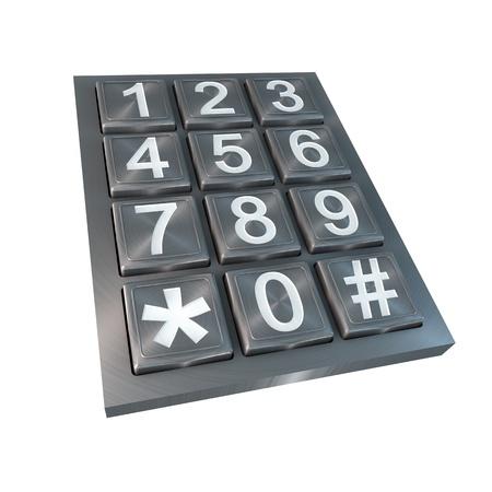 pad lock: steel numeric pad isolated on white