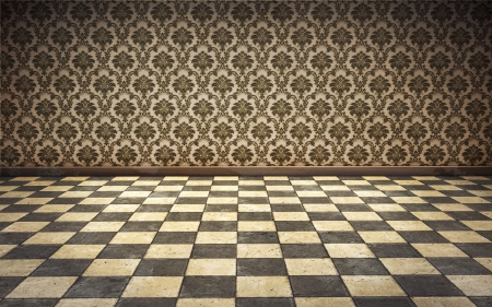 vintage room background with tiled floor