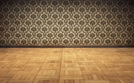 fray: vintage room background with parquet floor