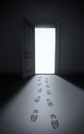 Burglary: footsteps in a house Stock Photo