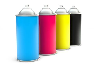 CMYK Paint spray cans isolated with clipping path photo