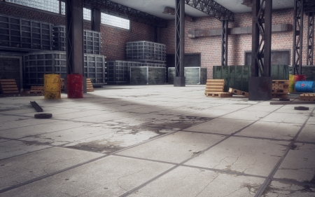 Old Abandoned Warehouse Background 3d-render photo