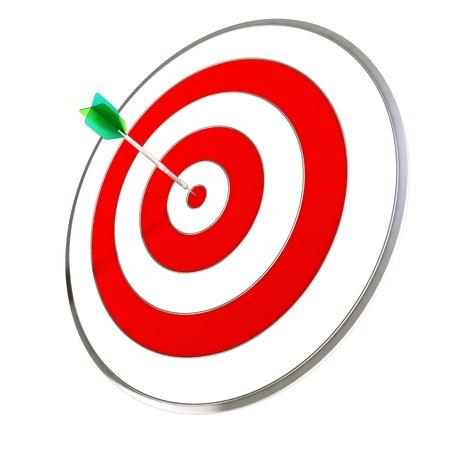 Dart Hitting A Target Isolated On White Background photo