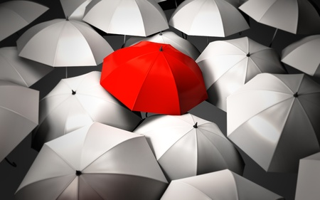 red umbrella: Stand out of a crowd - individuality