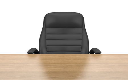 office chair at table isolated with clipping path photo