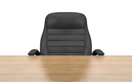 silla de madera: silla de oficina en la mesa aislada con trazado de recorte