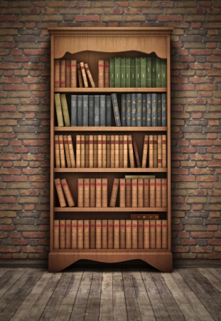 book shelf: Old bookshelf in room background Stock Photo