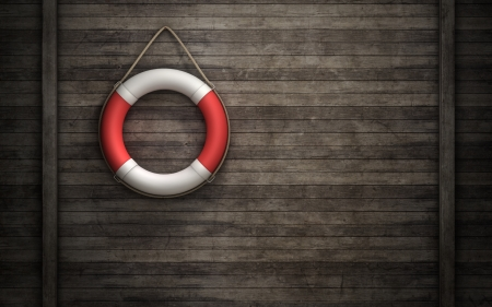Lifebuoy on wooden wall background 版權商用圖片