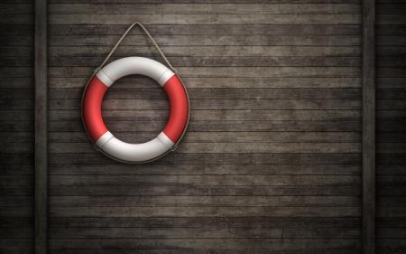 Rettungsring auf Holzwand Hintergrund Standard-Bild - 19927517