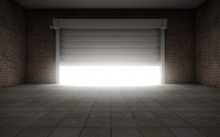 Old Empty garage with door background