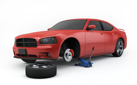 car lifted on jack isolated with clipping path Stock Photo