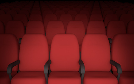 red chair: Empty movie theatre chairs background