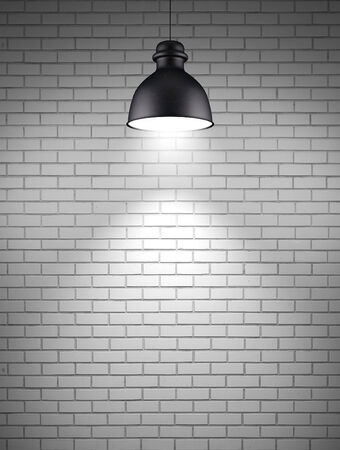 Ceiling lamp at brick wall background photo