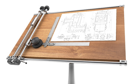 drawing table with project blueprint Standard-Bild