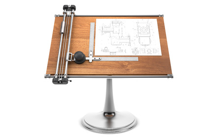 drawing table with project blueprint Foto de archivo