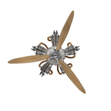 クリッピング パスと白で分離されたプロペラの航空機エンジン 写真素材