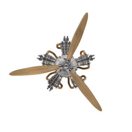 aircraft engine with propeller isolated on white with clipping path