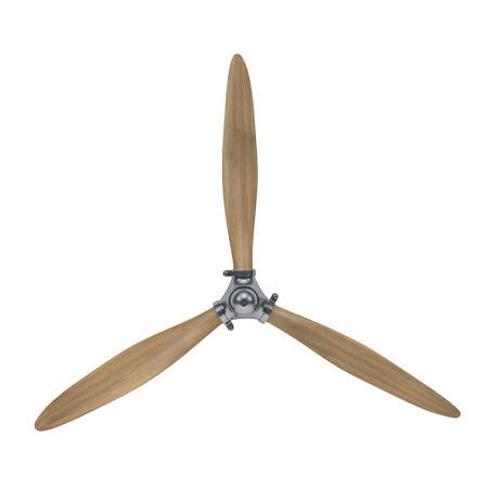 aircraft engine wooden propeller isolated on white with clipping path