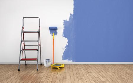 peintre en b�timent: Peinture des murs dans la chambre vide. R�novation maison Banque d'images