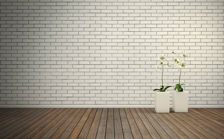 lounge room: Empty room with brick wall and wooden floor with flovers