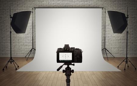 デジタル カメラと写真スタジオの光のセットアップ 写真素材