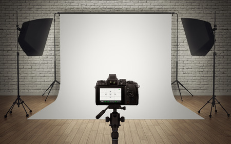 Foto studio licht setup met digitale camera Stockfoto