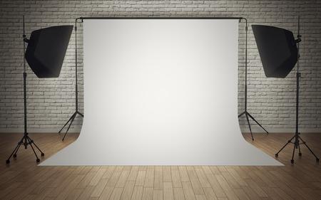 白い背景を持つ写真スタジオ機器
