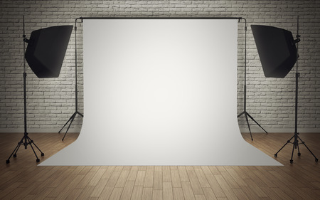 Photo studio equipment with white background 版權商用圖片