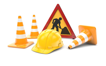 Road works, traffic cones and sign isolated