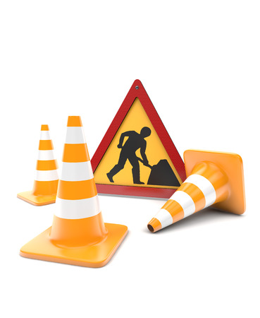 white work: Road works, traffic cones and sign  Stock Photo